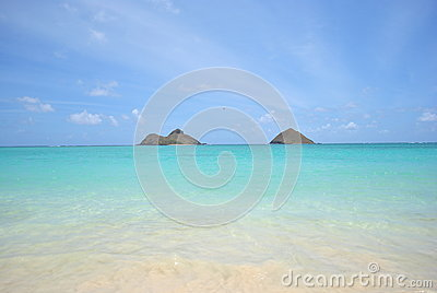 View of Mokolua Islands, Lanikai Beach Oahu