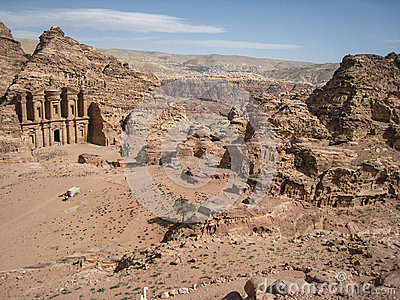 View of The monastery or Ad Deir at Petra. Jordan