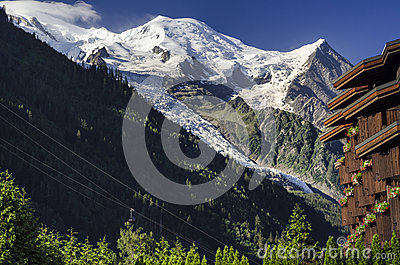 Mont Blanc from  Chamonix, French Alps, France
