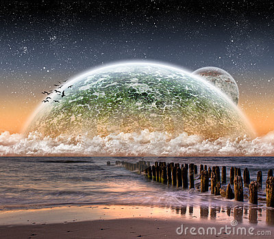 View of the moon from a beautiful beach