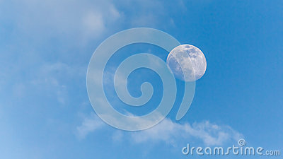 View of the moon during the day