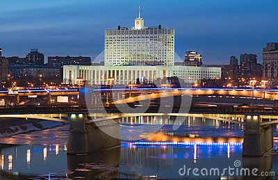 View of Moscow river, Borodinsky Bridge and White House