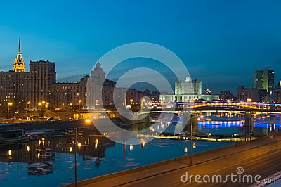 View of Moscow river at night,