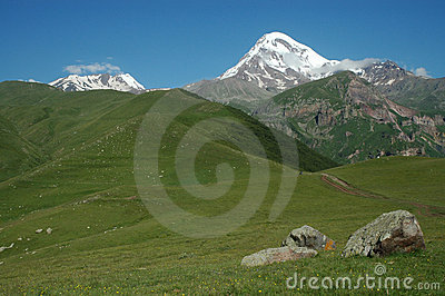 View of Mount Kazbek in Greater Caucasus, Georgia