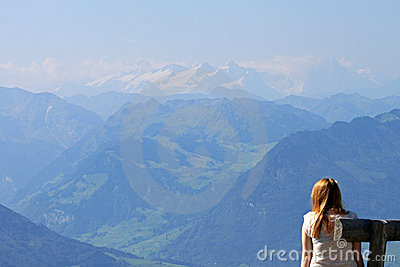View of mountains from the Rigi, Switzerland.