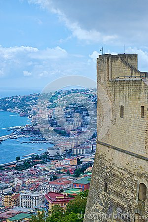 View of Naples from the castle Editorial Stock Image