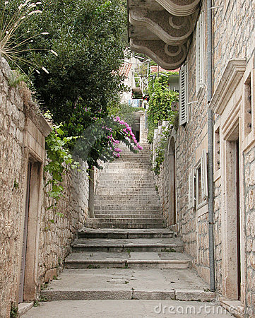 A view of a narrow alley