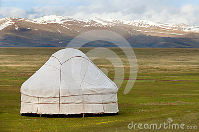 View of national asian yurt