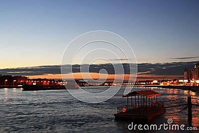View of Neva river at night