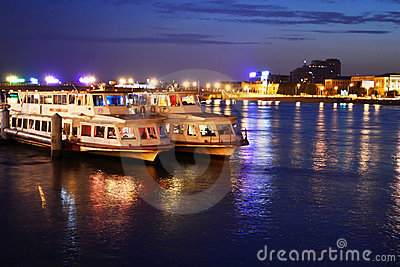 View of Neva river at night