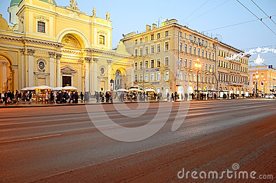 View of the Nevsky Prospect in evening illumination Editorial Image