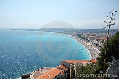 View of the Nice s coastline, French Riviera