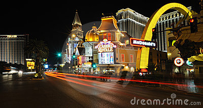 View of the night Las Vegas near Casino Royale Editorial Stock Photo