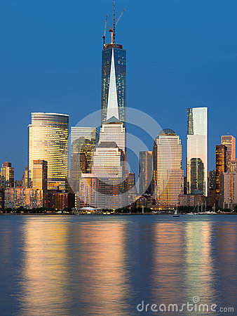 View of night Manhattan from Hudson river