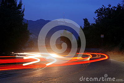 View in night from Mulholland Drive Editorial Stock Photo