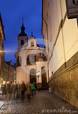 View of the night street in Prague
