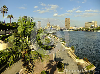 View of the Nile river and city skyline, Cairo