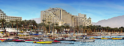 View on the northern beach of Eilat, Israel