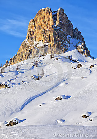 View of the Nuvolau at Giau pass at the Dolomite Alps