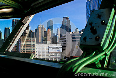 View of NYC from Captains deck of carrier Intrepid Editorial Photo