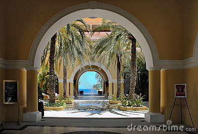 View of the ocean through the arches in Cabo San Lucas, Mexico