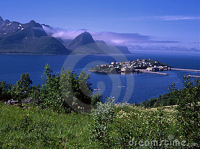 View of ocean fjord with small island