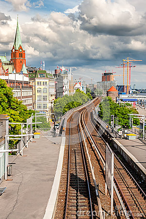 Free View Of Hamburg With The Railway Royalty Free Stock Photos - 45691698