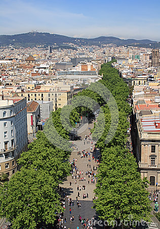 Free View Of La Rambla Stock Photos - 43794053