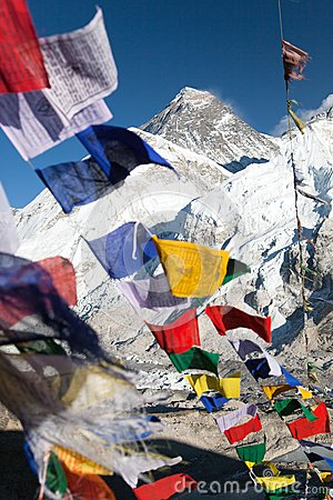 Free View Of Mount Everest With Buddhist Prayer Flags Stock Image - 49871781