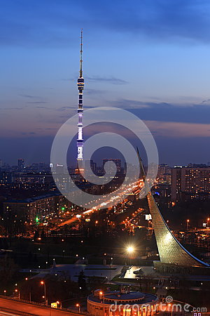 Free View Of Night Moscow From The Cosmos Hotel Royalty Free Stock Image - 93810946