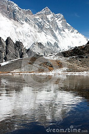Free View Of Southern Face Of Lhotse And Nuptse Mirroring On The Lake On The Way To Everest Base Camp Royalty Free Stock Photos - 30256208