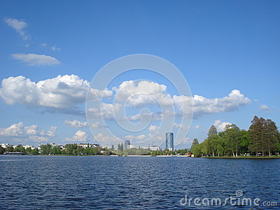 View of office buildings over Herastrau lake in Bucharest