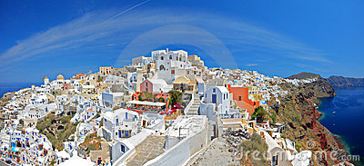 View of Oia village on Santorini island