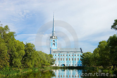 View of old church and  reflexion in water