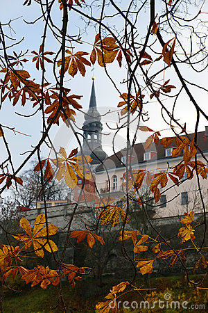 View of the old city through the autumn leaves of chestnut