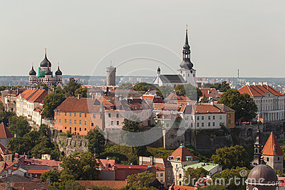 View on an old city from Church Oliviste Editorial Photography