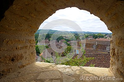 View of Old french town from fortress window