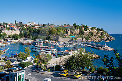 View at the old harbour in Antalya, Turkey