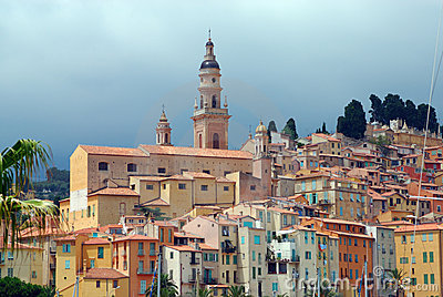 View of old town in Menton. French azure coast