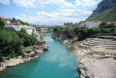 View at the Old Town in Mostar