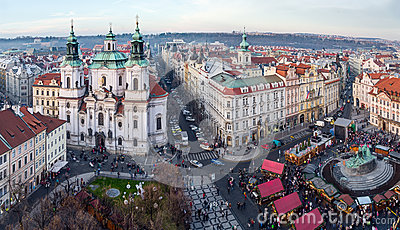 View of Old Town square and St. Nicholas Church, Prague, Czech Republic Editorial Stock Photo