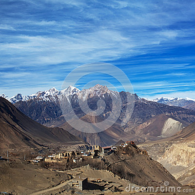 Free View On The Jarkot Village In Muktinath Valley, Nepal Stock Image - 45016181
