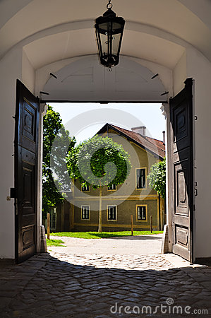 View out of a baroque gate