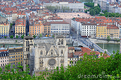 View over the city of lyon Lyon cathedrals Editorial Photo