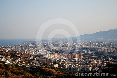 View over city rooftops, Malaga, Andalusia, Spain.