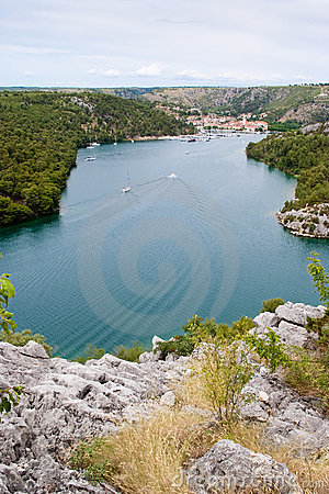 View over cliff on dalmatian town Skradin