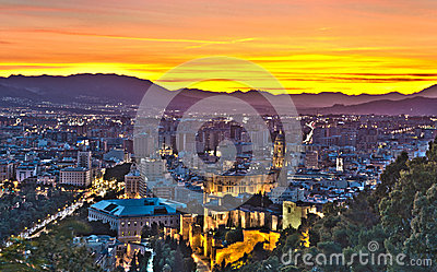 View over Malaga City at night, HDR image