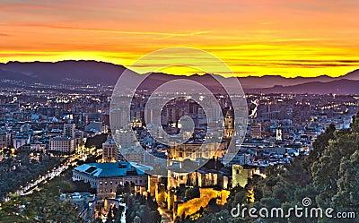 View over Malaga City at night, HDR image