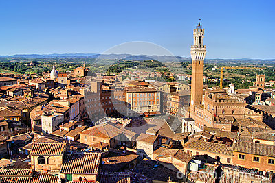View over medieval Siena