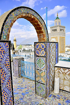View over medina and  Mosque Tunis though arcades